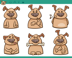 dog emotions cartoon illustration set