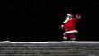 Santa walks on a wall and waves with Merry Christmas text.