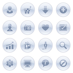 Basic icons on blue buttons.