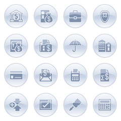 Banking icons on blue buttons.