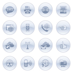 Communication icons on blue buttons.