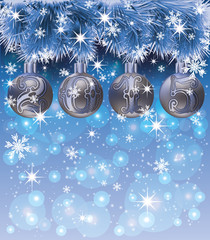 New Year 2015 card with xmas balls and snow, vector illustration