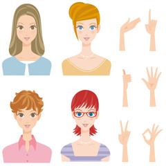 色々な女性 ポーズ 髪型 笑顔