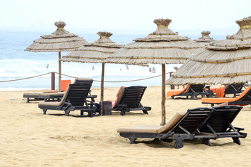 Chairs and sun umbrellas on the beach