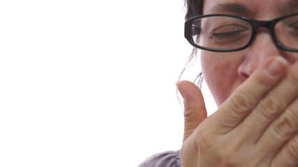 Woman Yawning Closeup Half Face