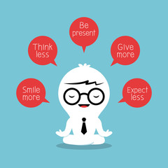 businessman meditating with positive thinking concept