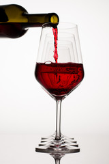 Red Wine Glass with Bottle
