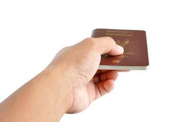 Hand giving passport