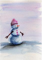 watercolor snowman in pink hat