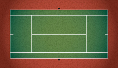Realistic Textured Tennis Court Illustration