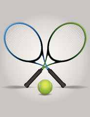 Tennis Racquets and Ball Illustration