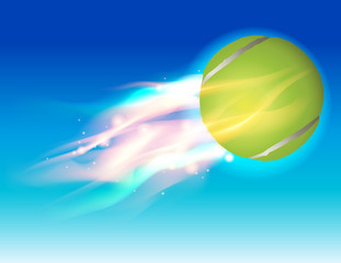 Tennis Ball Fire in Sky Illustration