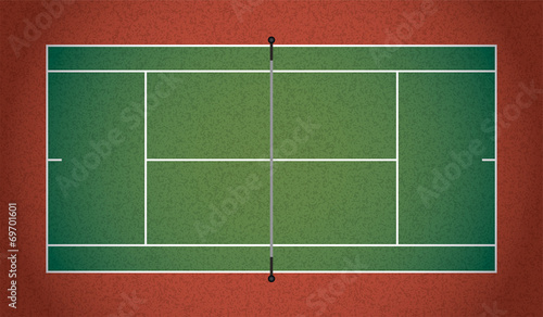 Realistic Textured Tennis Court Illustration - 69701601