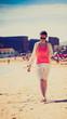 Girl goes on sea beach