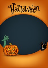 Halloween Party Design template in mouth pumpkin poster.