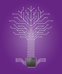 Circuit board tree on purple background