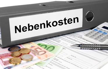 Nebenkostenordner mit Geld und Taschenrechner, grau