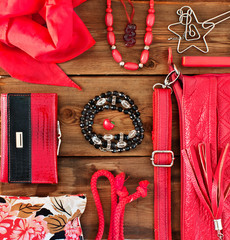 fashionable women's accessories in red tones