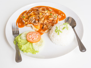 Thai food : SWEET AND SOUR FRIED EGGS