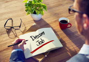 Businessman with Note About Dream Job Concepts