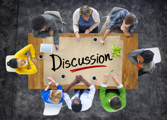 Aerial View with People and Text Discussion