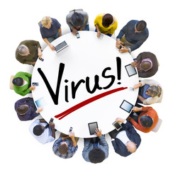 Aerial View of People and Virus Concepts