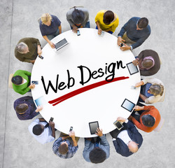 People Holding Hands Around Letter Web Design