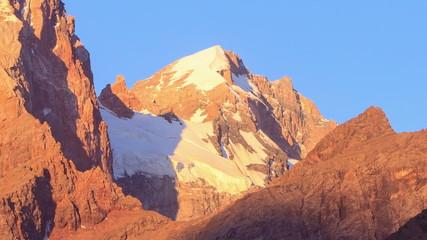 Mountain Glacier at dawn. Pamir, Tajikistan. Time Lapse