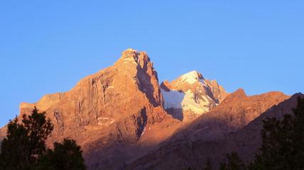 The mountain peaks at dawn. Pamir, Tajikistan, Tajikistan. 4K