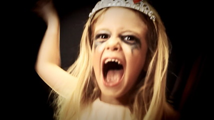 Little girl zombie acting