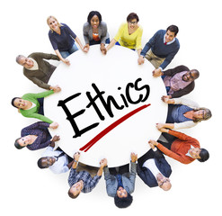 Group of People Holding Hands Around Letter Ethics