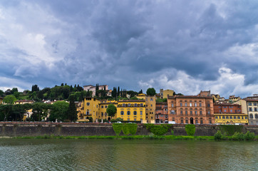 Florence architecture along banks of river Arno, Tuscany