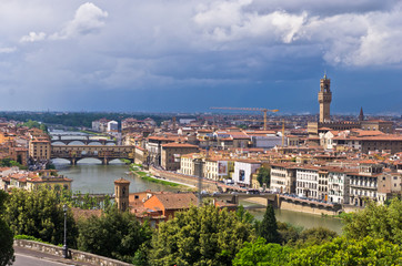 Panorama of Florence with dramatic sky before a storm, Tuscany