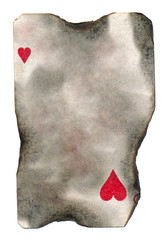 burnt old  playing card paper with  hearts symbol background