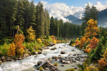 Bunte Berglandschaft im Herbst