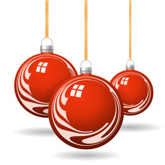 Red Christmas balls with gold ribbon and bows