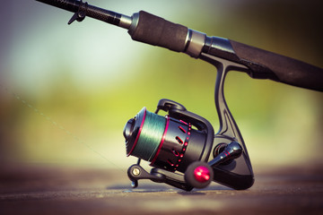fishing reel. blur background