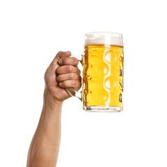 Männliche Hand hält Mass Bier