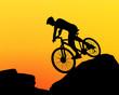 cyclist silhouette extreme biking