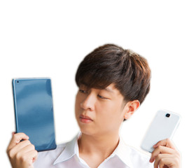 Asian male decide to use smart device isolated