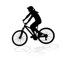 cyclist woman silhouette