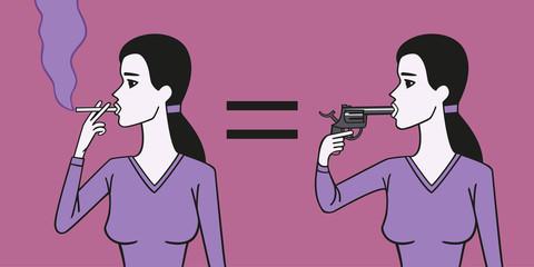 Smoker woman suicide.