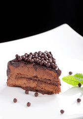 Fine dining, close up of a chocolate cream cake