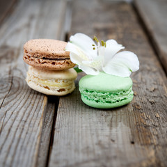 Macaroon on a background of flowers and a wooden table