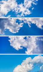Collection of horizontal sky banners with white clouds.
