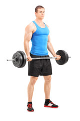 Male athlete exercising with a barbell