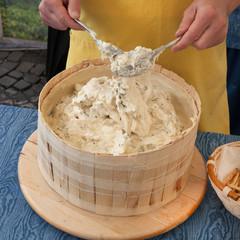 artisan making of italian cheese