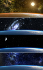 Collection of backgrounds with alien planet in space.