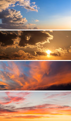 Collection of backgrounds with sunset sky.