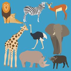 Flat design animals of Africa